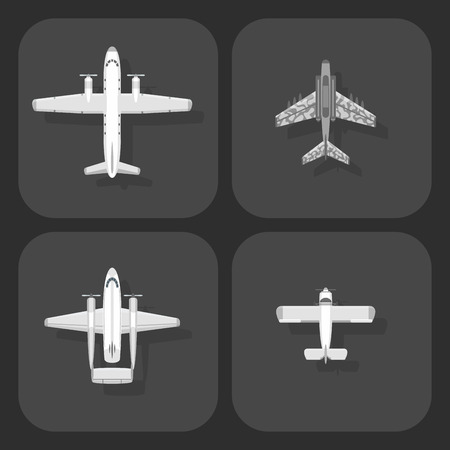 Airplane vector illustration top view plane and aircraft transportation travel way design journey object. Stock Photo