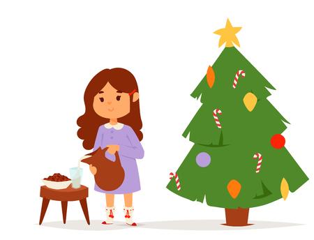 Christmas kids vector character playing winter games winter children holidays christmas tree cartoon new year xmas kid