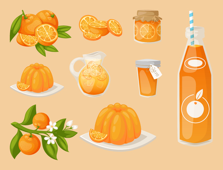 Oranges and orange products vector illustration. Fresh natural citrus fruit vector set. Juicy tropical dessert beauty breakfast collection. Organic juice healthy oranges food. Иллюстрация