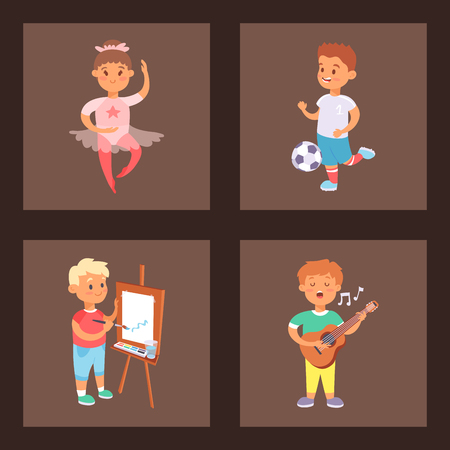 Children playing vector different types of home games little kids play summer outdoor active leisure. Vector set of young people group friends childhood activity. Children playing games. Illustration