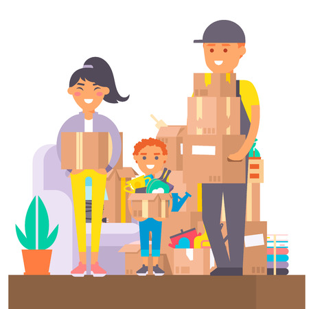 Happy young couple vector flat people moving in new house movement apartment together. Happy young couple moving service. Woman carrying boxes together with family person unpacking box character set.