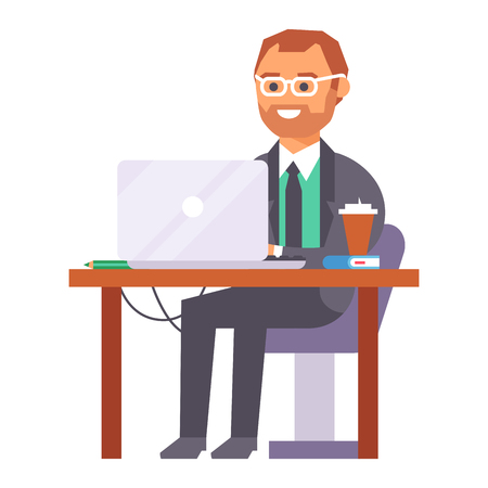 Vector flat people work place business worker person working on laptop at the table in office coworker businessman character workplace on computer illustration isolated on background.