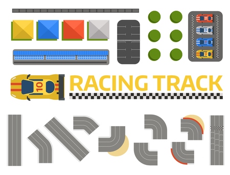 Race car sport track curve road vector. Top view of car sport competition constructor symbols. Circuit transportation tire car speedway line. Automobile highway flare formula finish.