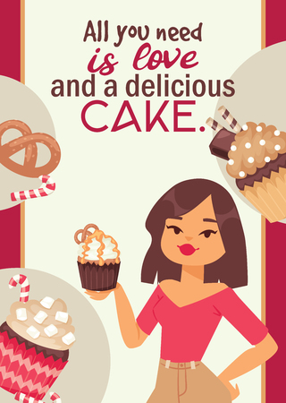 Cupcake poster design bakery cake dessert card vector illustration. Muffin holiday sweet party background design. Chocolate cookie delicious invitation postcard.
