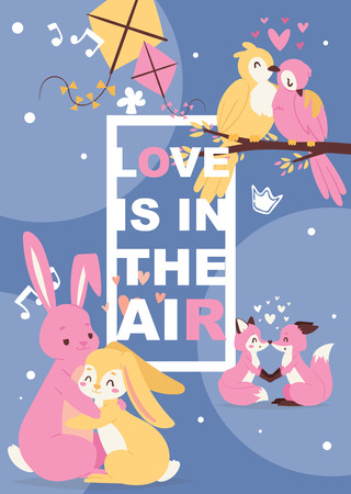 Poster with cute animals in love, cartoon chracters rabbits, foxes and birds. Printable poster cover with writing love is in the air. Baby birthday invitation zoo card vector illustration.