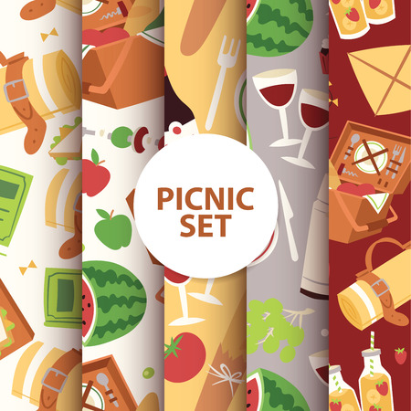 Cartoon basket picnic with food, drinks and cutlery seamless pattern vector illustration. Watermelon apples juice sandwiches, grapes, wine glass background.