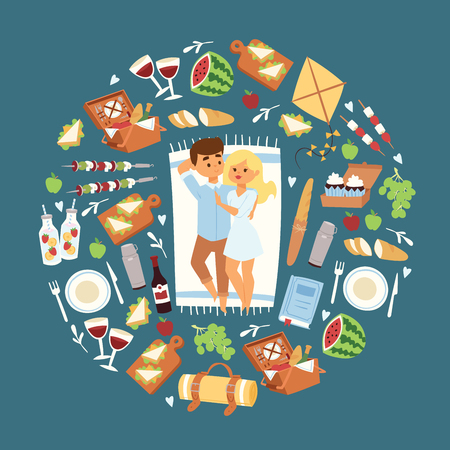 Happy couple of young people on picnic. Trip to nature together. Vector illustration with picnic items, sandwiches juice watermalon grapes, bread, cakes, apples, basket cutlery.