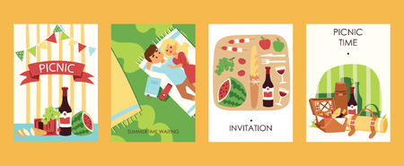 Cartoon outdoor picnoc time invitation cards vector ilustration. Food, bootle of wine, watermalon, bread, tomatoes. Lovely couple has rest. Picnic accessories. Summertime waiting. Warmth.