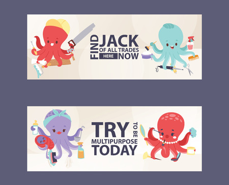 Octopus multitasking character vector illustration for banners. Builder with instuments, hairdresser with accessories, mother with child and food, beautiful female mascot with cosmetics. Stockfoto