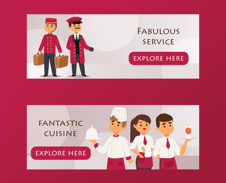 Hotel service banner vector illustration. Porter carrying luggage and bellboy, smiling chef and two waiters in uniform with dishes and drinks, fabulous service, fantastic cuisine.