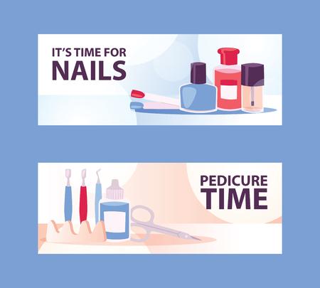 Cartoon vrouw manicure banners voor salon of studio. Stap voor stap mooie vrouwelijke nagels. Manicureset met nagelreiniger, schaar, nagelriemduwer, teenscheider en nagellak vectorillustratie. Vector Illustratie