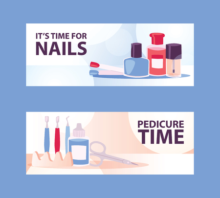 Cartoon woman manicure banners for salon or studio. Beautiful female nails step by step. Manicure set with nail cleaner, scissors, cuticle pusher, toe separator and polish vector illustration.
