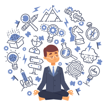 Office worker doing yoga to calm down stressful emotion from hard work in office with thoughts and ideas icons on background. Concept of meditation. Vector illustration for banners or posters.
