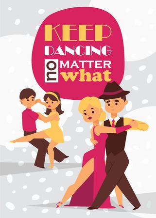 Dancing man and woman ballroom, sports dances. Tango, waltz, Latin American dances vector illustration. Dance studio.