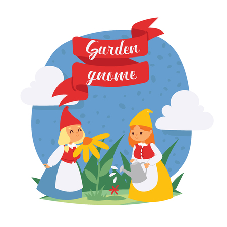 Garden gnome girls dwarf characters cadr and gardening flayer klitsch spring kids figure background vector illustration. Little funny people toy elf figurines banner.