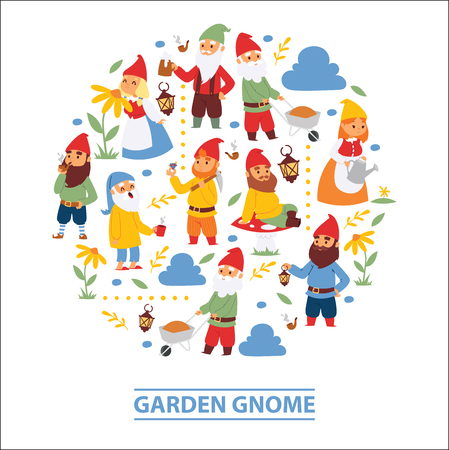 Garden gnome beard dwarf characters wallpaper and gardening flayer klitsch family figure background vector illustration. Little funny people gold production toy elf figurines banner. Stock Illustratie