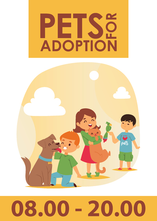 Children with pets adopt friendship poster vector illustration. Friendly shelter domestic little animals playful their best friends banner. Poster with kids play puppies. Love child dog cat adoption.