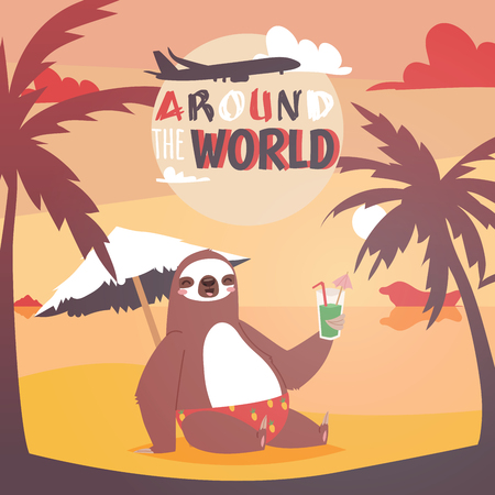 Sloth on vacation background. Animal who likes travelling poster. Passive rest on beach. Drinkng coctail and relaxing near sea with pulm vector illustration.