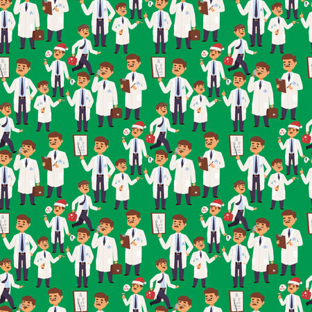 Doctor nurse character vector medical man staff flat design hospital team people doctorate illustration Seamless pattern background doctor character. Professional cartoon medical human worker.