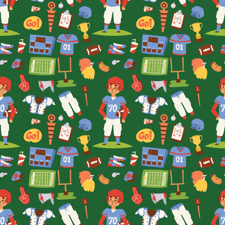 American football player action sport athlete uniform people success playing tools vector illustration. Winning seamless pattern background professional competition sports equipment. Illustration