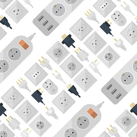 Enchufes eléctricos ilustración de salida de pila toma de corriente enchufes de enchufes eléctricos de Europa y Estados Unidos y Asia icono interior del aparato. Alambre cable cable enchufe conexión enchufes eléctricos doble americano.