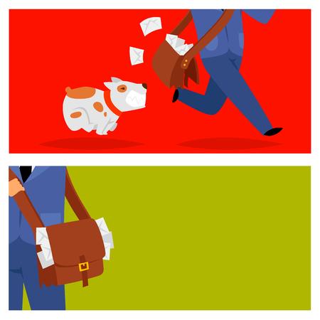Postman delivery man character vector cards courier occupation carrier package. Mail shipping deliver professional people with envelope. Delivery boy service delivering mailmen postman conveyance. Ilustração