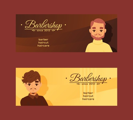 Barbersop banner vector illustration. Hipster style haircuts, beard, mustache, haircare. Cartoon male character faces. Gentlemen s Club brochure, poster. Banco de Imagens - 111532723