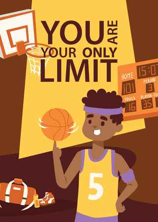 Basketball player in uniform with ball. Supplies for sport game. Basket, scoreboard, bag. You are your only limit. Cartoon vector illustration banner, flyer, brochure, poster. Banco de Imagens - 128168329
