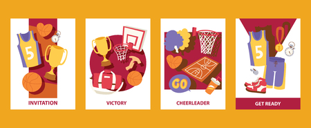 Basketball cards vector illustration. Invitation. Victory. Cheerleader. Get ready. Uniform, trophy, medal, T-shirt shorts bag basket ball stopwatch, pom, whistle For banner poster invitation