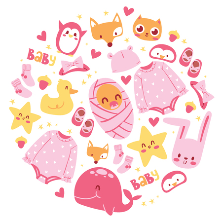 Baby shower vector illustration. Newborn girl arrival and shower collection with accessories for kid. It s a girl. Clothing, animals cat fox duck rabbit whale, penguin, cat. For banners, posters. Illustration