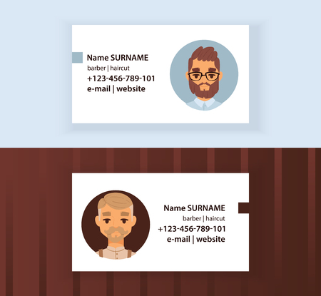 Hipster Barber Shop Business Card design template. Gentlemen s Club Vector illustration. Cartoon men with modern stylish haircuts, beard, mustache, glasses. Haircare for males. Contact information.
