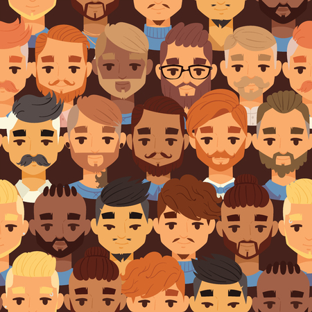 Bearded men faces hipsters head style with different haircuts vector illustration. Haircuts beard mustache glasses goatee. Haircare in gentlemen s club for posters, banners, flyers.