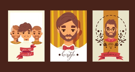 Barber tie men cartoon characters vector illustration. Hairstyle and haircut for young and old men. Welcome to gentlemen s club banner, flyer, invitation, brochure, poster. Handsome men card. Illusztráció