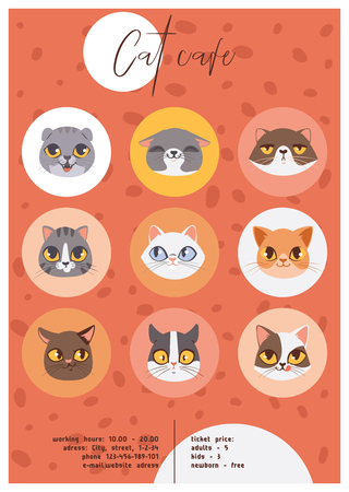 Cat cafe faces or heads poster vector illustration. Cartoon animal happy muzzles. Stock Photo