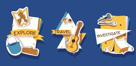 Camping stickers vector illustration. Explore, travel, investigate. Archivio Fotografico - 111533063