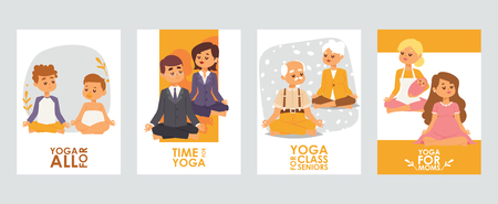 Banners with happy cartoon meditating people characters for different occasions, classes for children, for office workers, for pensioners and moms. Healthy lifestyle. Treatment for soul and mind.