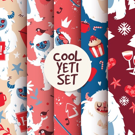 Cool yeti seamless pattern set vector illustration with kind creature with cup of coffee and cake. New year atmosphere with glassof wine, snowflakes, mittens. Professional skier. Birds flying. Illustration