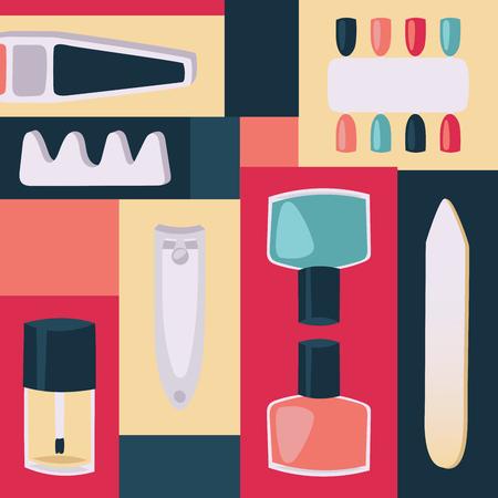 Herramientas para la ilustración de vector de impresión de manicura para pancartas y carteles. Accesorios e instrumentos para uñas, separador de dedos, cortaúñas, lima, frascos con barniz, diseño de uñas colorido.