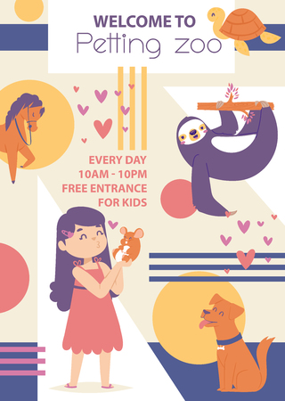 Petting zoo vector poster. Girl playing with animals. Happy animals dog sloth, horse mouse, turtle. Opening and closing hours. Lovely and friendly atmosphere. Girl kissing mouse. Illustration