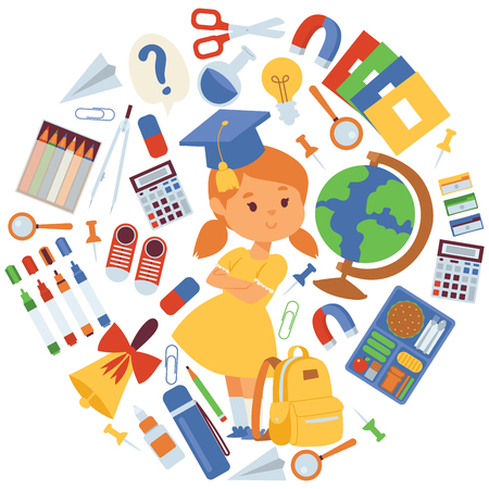 School items vector illustration. Cartoon girl with backpack supplies for studying, globe, scissors, copybooks pencils rubbers calculator bell clips magnifier magnet for banners and posters.