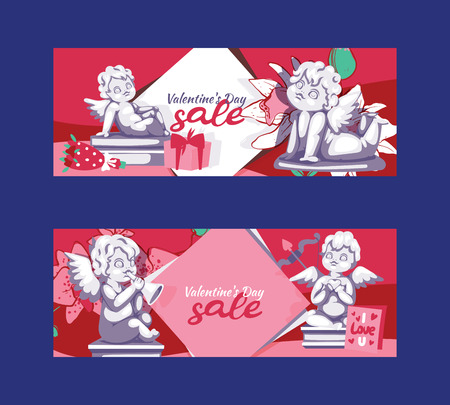 Valentines day angel statue sale offer banner template vector illustration. Angelic cupid sculpture lovely baby character with wings on wedding day. Clearance background flyer, poster.