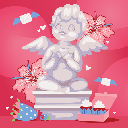 Angelic cupid sculpture background vector illustration. Romantic angel statue with flowers and cakes. Cute kid cartoon character on Valentines or wedding day background banner, poster.