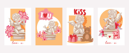 Valentine day cards angel statue vector illustration.