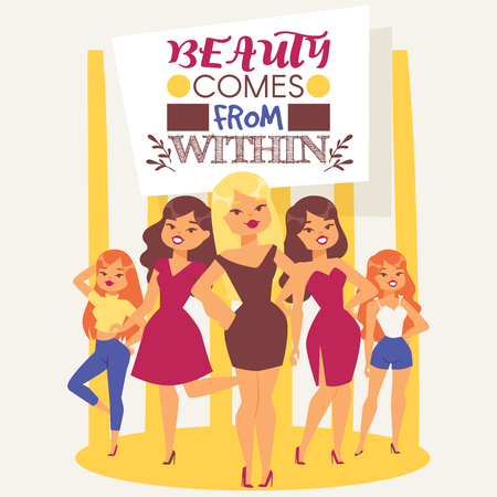 Fashionable models. Cute young girls vector illustration. Attractive women in dresses, jeans and T-shirts. Beauty comes from within. Background banner, flyer, brochure, poster for beauty school. Иллюстрация