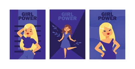 Girl power cards vector illustration. Attractive girls posing as models. Beautiful blonde and brunette women in dress, jeans, T-shirt. Lovely cartoon female characters banner, flyer, brochure, poster. 일러스트