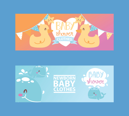 Baby shower girl and boy clothes, vector illustration. Newborn baby clothing. Cute cartoon ducks, stars and whales for banner, flyer, invitation, brochure, poster. Lovely motherhood.