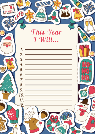 Christmas 2019 Happy New Year Santa letter greeting card happy wish list paper sheet vector background banner holidays winter xmas congratulation New Year poster or web banner illustration.