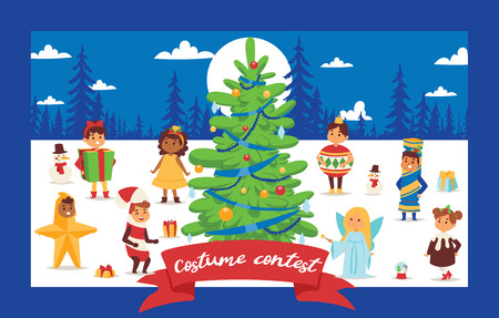Christmas 2019 Happy New Year greeting card happy kids children costume vector background banner holidays winter xmas congratulation New Year poster or web banner illustration. Banque d'images - 112058413
