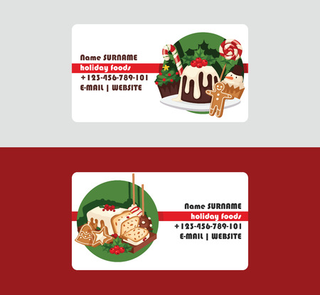 Christmas food chef business card and desserts holiday decoration xmas sweet celebration vector traditional festive winter cake homemade dish Stock Photo