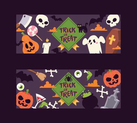 Halloween kids costume trick or treat party costumes vector characters. Little child people Halloween bat, candy, ghost, zombie kids costume. Childhood fun cartoon boys and girls carnival party website banner.